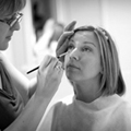 Bridal makeup being applied by professional Essex wedding makeup artist