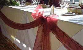Table swags and wedding accessories including table runners and cake table swags