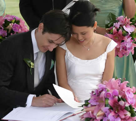 Bride and groom signing register, Essex Wedding professionals for quality services