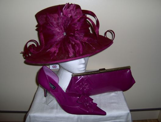 Wedding hat, wedding shoes and matching wedding handbag from Essex Hat company
